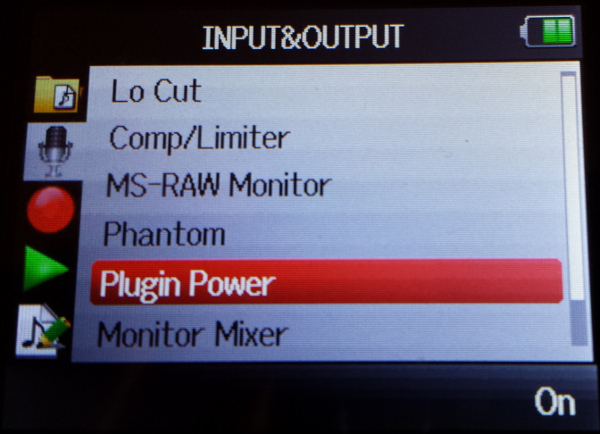 Enable plugin power on Zoom H6