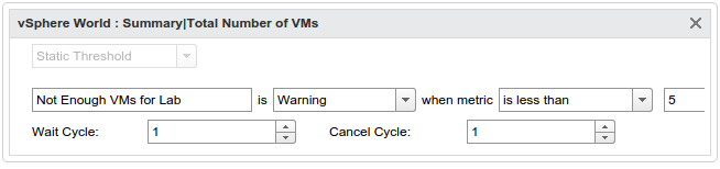 A  custom symptom detecting too few VMs in my lab.
