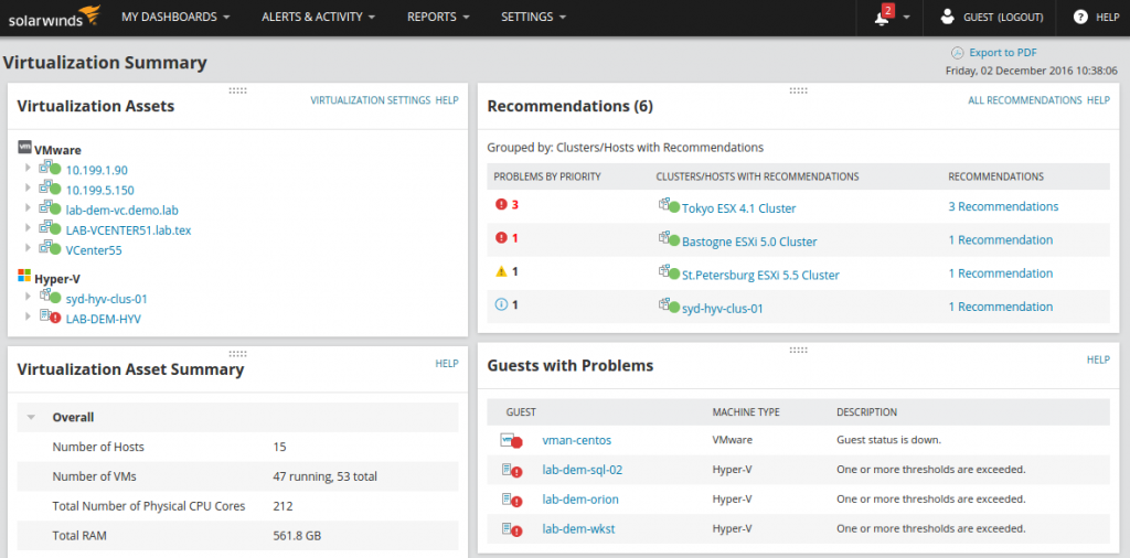 VMAN7 Dashboard View with Recommendations