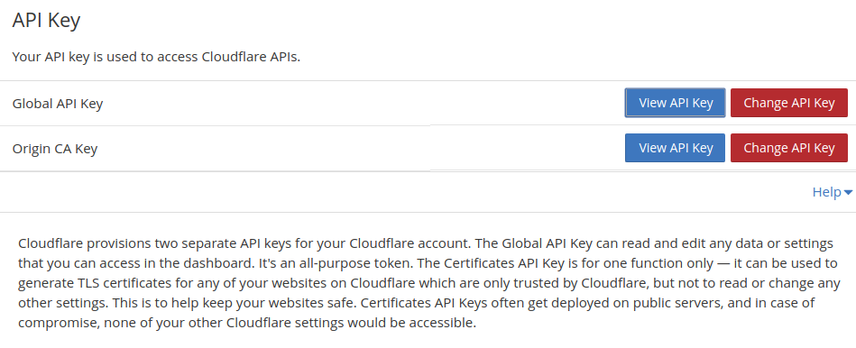 Getting API keys from CloudFlare