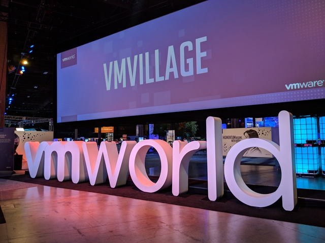The VMworld sign in the VMvillage at VMworld 2018