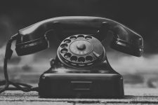 An old Bakelite rotary dial phone is appropriately anachronistic for a post about VoIP configuration.