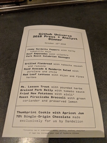 The Bar Agricole press and analyst dinner menu.