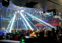 A UFO-esque light display at Omnia nightclub in Las Vegas during the Cohesity party for AWS re:Invent 2018