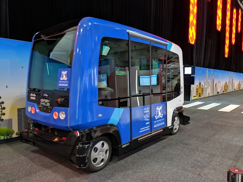 A prototype driverless bus/tram/car thing on the show floor at Cisco Live Melbourne