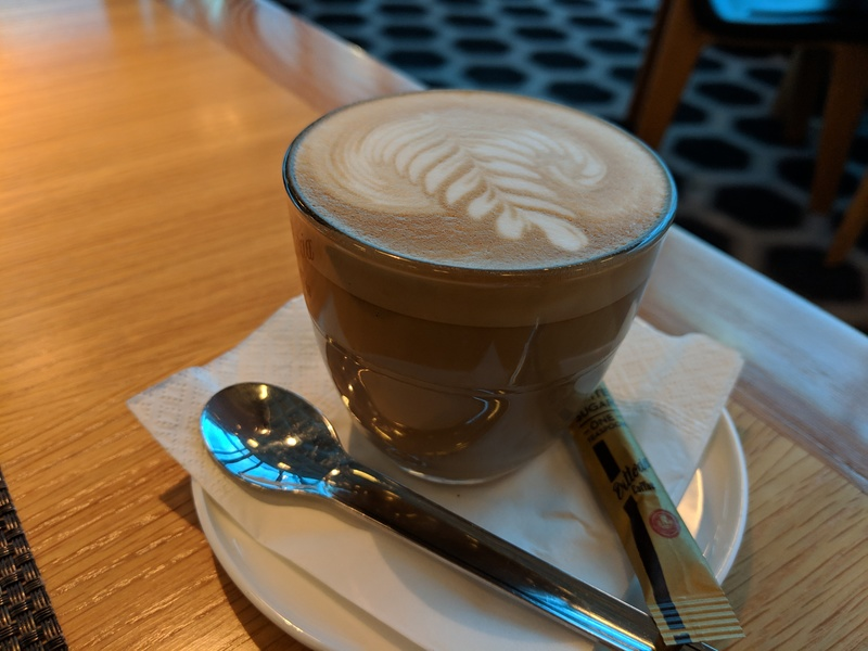 A coffee at the Qantas lounge in Melbourne, Australia.