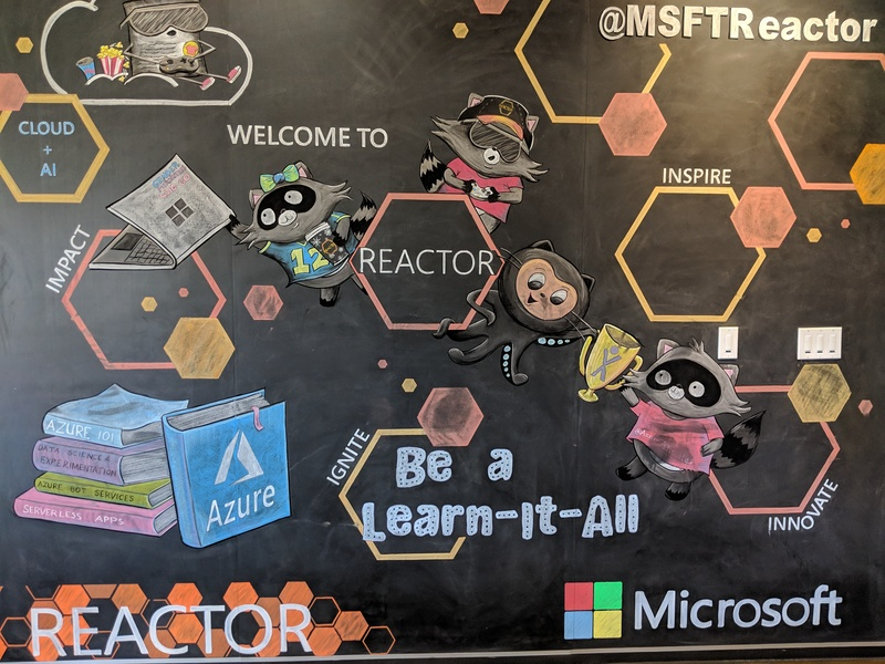 A wall display at the Microsoft Reactor building (Building 20) at Microsoft's Redmond, WA campus.
