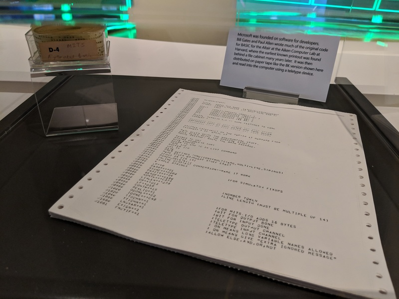 The earliest known printout of MS BASIC, on display at the Microsoft Visitor Center in Redmond, WA.