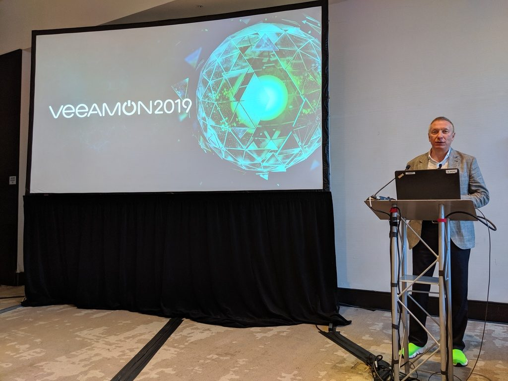 Ratmir Timashev, Veeam Co-Founder and Executive Vice President (EVP), Worldwide Sales and Marketing, briefs the press at VeeamON 2019
