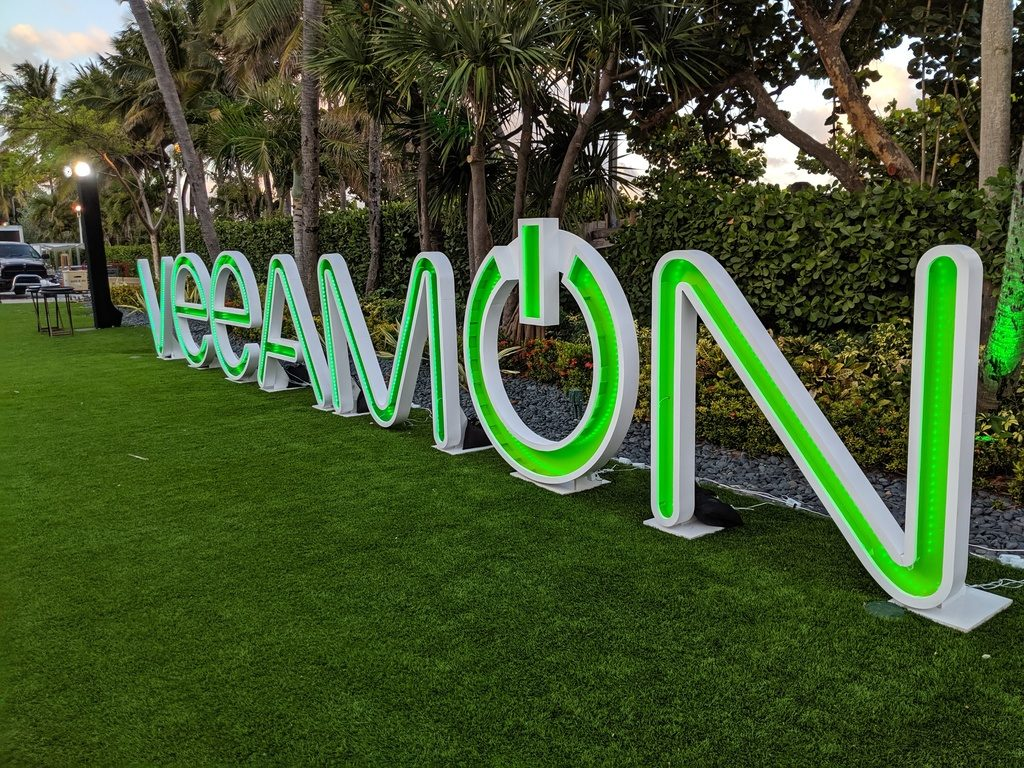 The VeeamON sign at the VeeamON 2019 party.