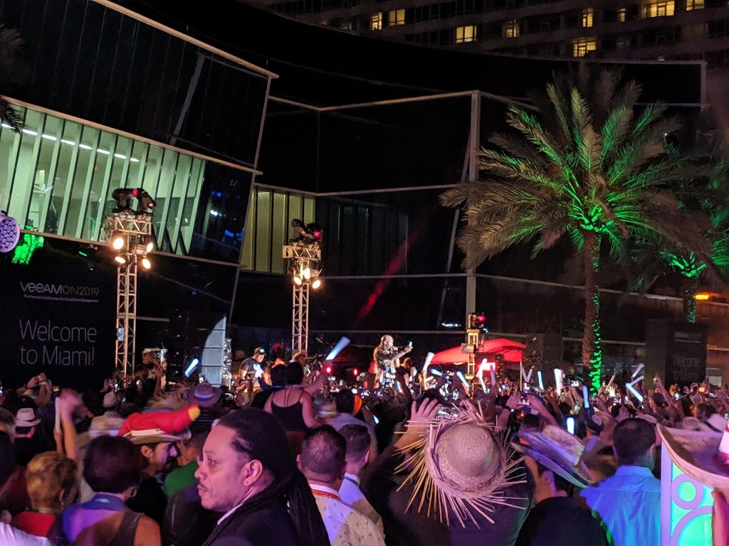 FloRida entertains the crowd at VeeamON 2019 in Miami, FL